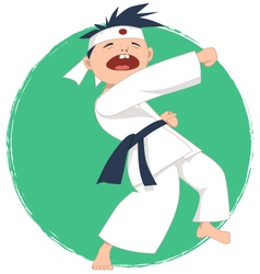 Little boy doing karate vector