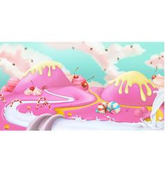 Pink sweet landscape background vector image vector image