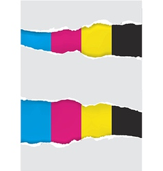 Ripped paper with print colors vector image vector image