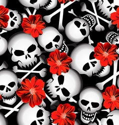 Skulls with red flowers seamless pattern vector image vector image