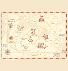 Vintage world map with compass royalty free vector image vintage world map with compass and mountains sea vector image gumiabroncs Image collections