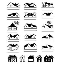 Buildings black signs logo set vector image vector image