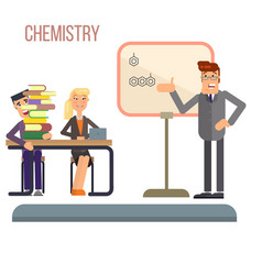 Chemistry lesson in college vector