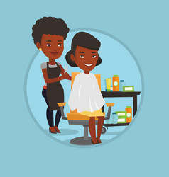 hairdresser making haircut to young woman vector image vector image