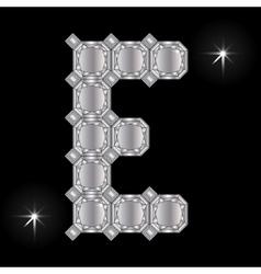 Metal letter e gemstone geometric shapes vector