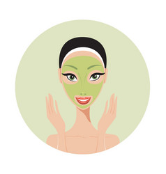 young beautiful woman applying face mask spa skin vector image vector image