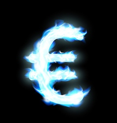 Euro sign burning blue flame vector