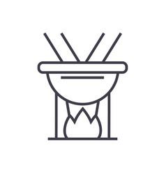 fondue line icon sign on vector image vector image