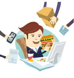 Funny multitasking business man eating sandwich vector