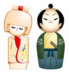 geisha and samurai vector image vector image