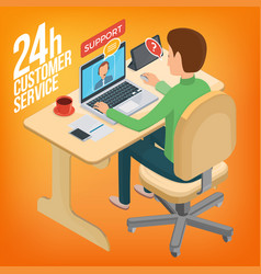 isometric image service for customers man sitting vector image vector image