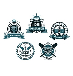 Nautical and marine emblems or icons vector image vector image