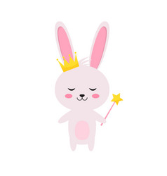 princess rabbit with magic wand and crown vector image
