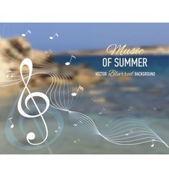 Seaside blurred background with music note and key vector image