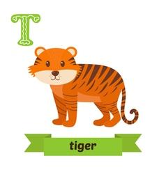 Tiger T letter Cute children animal alphabet in vector image vector image