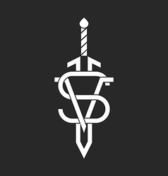 VS versus and sword logo black and white mockup vector image vector image