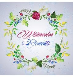 watercolor floral elements set - vector image