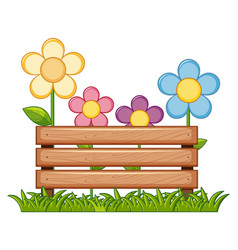wooden sign with flowers in garden vector image