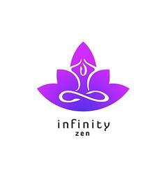 Yoga zen pose logo with lotus flower silhouette vector image