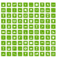 100 awards icons set grunge green vector image