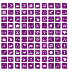 100 internet icons set grunge purple vector image