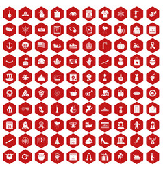 100 national holiday icons hexagon red vector