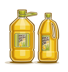 2 big yellow plastic bottles with rice bran oil vector