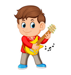 a young boy sings and plays on the electric guitar vector image