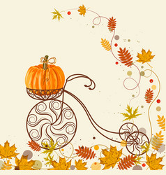 autumn background with vintage bicycle pumpkin vector image