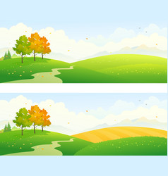 Autumn fields panoramic vector