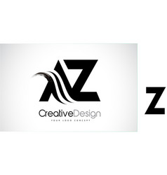 az a z creative brush black letters design with vector image
