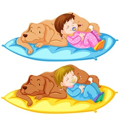 Baby girl and pet dog vector