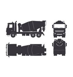 Black silhouette concrete mixer truck vector