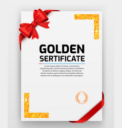 blank paper with modern gold frame metal vector image