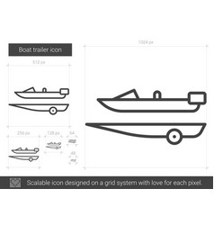 Boat trailer line icon vector