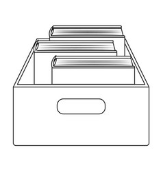 Books in box icon in outline style isolated on vector