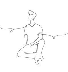 boy sitting - one continuous line design style vector image