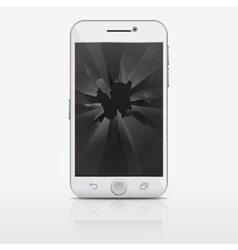 Broken glass screen of phone smartphone vector