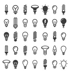 bulb icon set vector image vector image