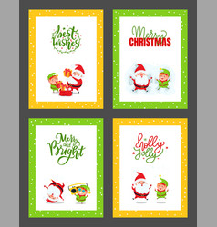 christmas cards collection with santa claus elf vector image