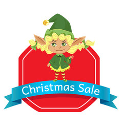 christmas sale holiday promotion poster with elf vector image