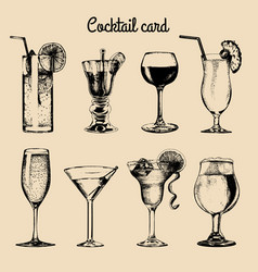 Cocktail card hand sketched alcoholic beverages vector