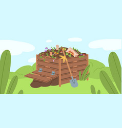 compost box with bio recycling garbage vector image