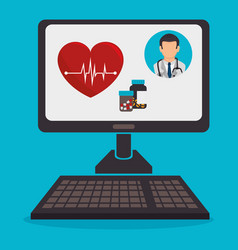 Computer with telemedicine technology vector