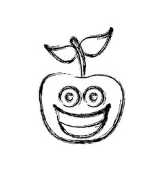 contour kawaii fruit apple happy icon vector image