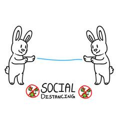Corona virus kids cartoon social distancing vector