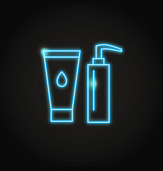 cosmetic bottles icon in glowing neon style vector image