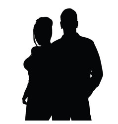 couple silhouette happy in black color vector image