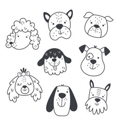 cute doodle dogs head on white background vector image