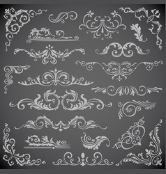 dark set of swirl elements for frame design vector image